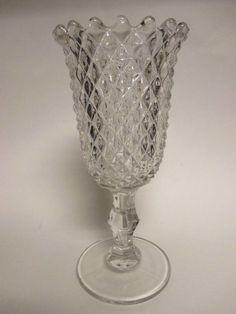"Vintage Diamond Point Glass Celery Vase 9 1/4"" Tall"