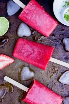 Strawberry Rhubarb & Lime Popsicles