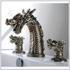 Cool Creative Dragon Head Design Pure Copper Bathroom Faucet - Cool, but I'd hate to have to clean it. So fiddly! Modern Bathroom Faucets, Copper Bathroom, Bathroom Fixtures, Bathroom Stuff, Design Bathroom, Gothic Bathroom, Steampunk Bathroom, Bathroom Gadgets, Bathroom Things
