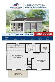 1 Bedroom House Plans, Guest House Plans, Small House Floor Plans, Cottage House Plans, Cottage Homes, Guest Cottage Plans, Backyard Cottage, Tiny Backyard House, Tiny Cottage Floor Plans