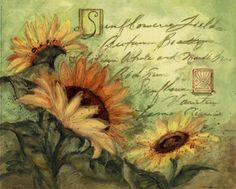 Sunflowers On Green, Art Print by Susan Winget
