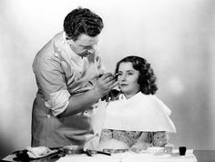 """Barbara Stanwyck in make-up for """"Forbidden"""" (1932)"""