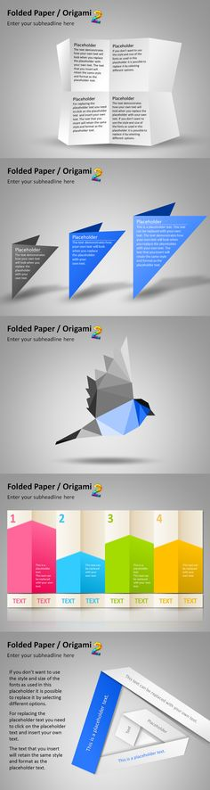 Use these beautiful Origami #PowerPoint graphics for your next business #presentation to illustrate your #marketing strategies and plans.