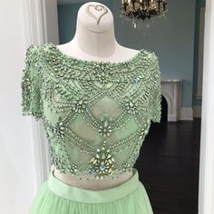 Two piece mint green long prom dress - beads cap sleeves