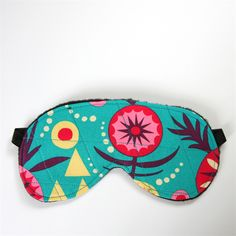 3 Layer Quilted Eye Mask - Sierra desert on bright aqua blue. monkey & bee