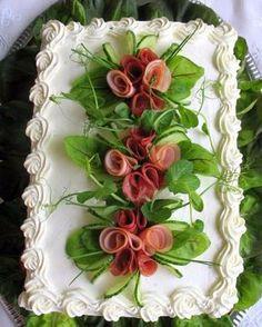 Orange cake without flour - HQ Recipes Salad Cake, Sandwich Loaf, Food Carving, Food Garnishes, Swedish Recipes, Snacks Für Party, Tea Sandwiches, Food Decoration, Food Platters