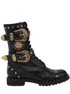 FAUSTO PUGLISI - 20MM BUCKLES & STUDS LEATHER COMBAT BOOT - BOOTS - BLACK - LUISAVIAROMA - 20mm Heel . Side zip closure . Reinforced eyelets. Lace hooks. Adjustable buckles . Studded details . Studded welt. Treaded rubber sole