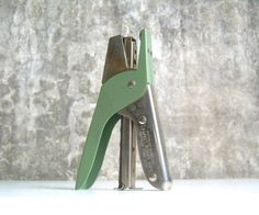Vintage Arrow Plier Stapler Green Silver by TheArtifactoryStudio on Etsy