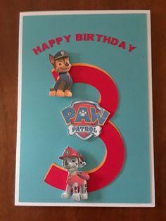 A Paw Patrol birthday card Paw Payrol Birthday, Paw Patrol Birthday Card, Paw Patrol Party, Birthday Cards For Boys, Handmade Birthday Cards, Boy Cards, Kids Cards, Scrapbook Cards, Craft Gifts