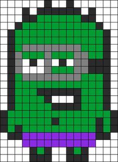 Hulk Minion  perler bead pattern change to cross stitch