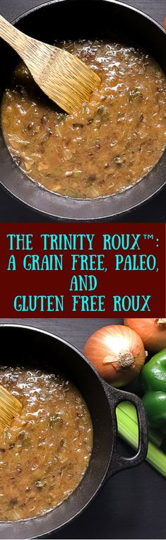 Enjoy authentic south Louisiana food like a local with The Trinity Roux™: A Grain Free, Paleo, and Gluten Free Roux from A Sprinkling of Cayenne food blog. Infused with the Cajun 'trinity' of onion, bell pepper, and celery for flavor and color, and pulled together with a grain free, Paleo, and gluten free slurry til it becomes the perfect binding and flavoring agent for whatever dish you have in mind. | http://asprinklingofcayenne.com