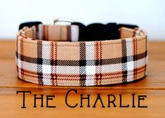 "Dapper Camel,Beige,Light Chocolate Plaid Dog Collar ""The Charlie"""