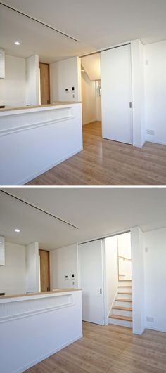 引き戸で仕切るリビング階段。引き戸を寄せると階段下収納が現れます。|キッチン|自然素材|収納|白いキッチン|