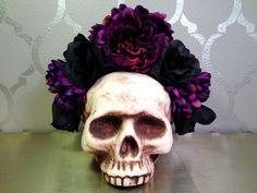 PURPLE and Black FLOWER CROWN Frida Dia de los Muertos Lana del Rey by LaCatrinaDeSanDiego on Etsy https://www.etsy.com/listing/233342262/purple-and-black-flower-crown-frida-dia
