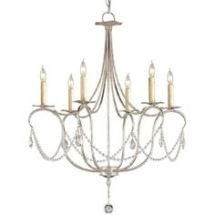 Currey & Company Crystal Lights Silver Chandelier Small
