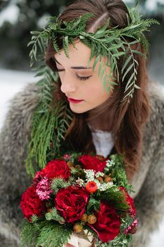 holiday bride // photo by Callie Hobbs Photography // http://ruffledblog.com/christmas-woodland-inspiration