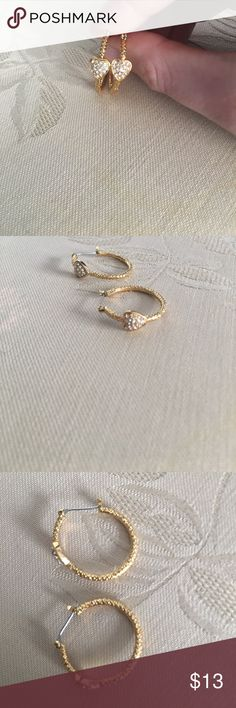 Betsey Johnson Gold Heart Hoop Earrings Gold hoops with a white silver heart in the front. No damage! Let me know if you have questions! Betsey Johnson Jewelry Earrings