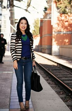 Striped Blazer + Jewel Tones - cute & little Cute Work Outfits, Smart Outfit, Chic Outfits, Spring Outfits, Ourfit, Blazer Outfits, Striped Blazer Outfit, Nautical Fashion, Nautical Style