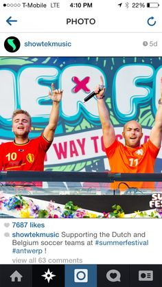 """Showtek wearing the 2014 World Cup Netherlands Home jersey with name """"SHOWTEK"""" and #11. Get your jersey at edmgears.com"""