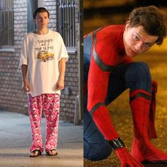 #TomHolland wearing #HelloKitty pajamas on set of #SpiderManHomecoming!