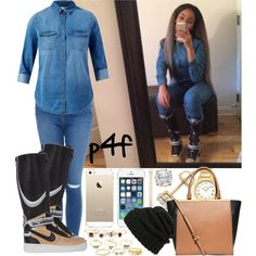 Passion 4Fashion: I'm Shutting It Down. Now That You're Gone by shygurl1 on Polyvore featuring polyvore fashion style Frame Denim NIKE Michael Kors Fendi Sole Society Charlotte Russe Glitterrings Leith
