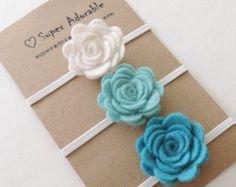 Felt Flower Headband - Pick 3 Colors - Felt Baby Headband, Newborn Headband…