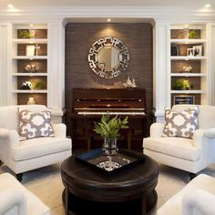 Living Room design ideas - traditional - living room - san diego - by Robeson Design My Living Room, Home And Living, Living Room Furniture, Living Room Decor, Small Living, Fireplace Furniture, Piano Room Decor, White Furniture, Modern Living