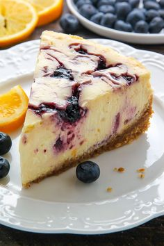 Super creamy homemade Lemon Blueberry Swirl Cheesecake! Step by step ...
