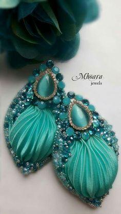 Shibori silk earrings ' Tourquoise ' Artistic Jewelry