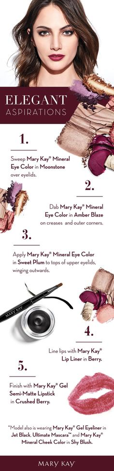With shimmery purple as the focal point, this confident yet elegant makeup look reflects the feeling in your heart: that your every dream can come true this holiday season. Mary Kay Cosmetics, Makeup Cosmetics, Elegant Makeup, Beautiful Eye Makeup, Holiday Makeup, Christmas Makeup, Purple Eye Makeup, Beauty Consultant, Mary Kay Makeup
