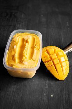 Rekha's Mango Ice cream: 2 cups icecold coconut milk 2 medium size Alphonso mango pureed 1 tsps coconut oil (preferably organic virgin, especially if the coconut milk is not full fat) 1/4 cup light brown sugar