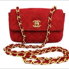 8cdf687f1f0 CHANEL Red Suede Matelasse Shoulder Bag on Carousell