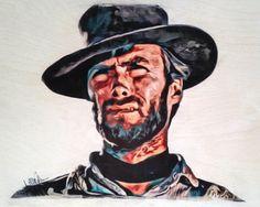 Clint Eastwood - 8x10 Print of Original Art - 100lb White Cardstock (Original done on Birchwood) by LaurenIllustrations on Etsy https://www.etsy.com/listing/240101908/clint-eastwood-8x10-print-of-original