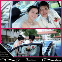 Our actual day wedding photography by our professional photographer. Capturing the groom and bride going up the wedding car after fetching the bride. Capturing the pretty bride in our beautiful white long train wedding gown, and groom in our white groom suit. Beautiful hairstyles and makeup by our hairstylist, makeup artist. Our pleasure serving each and every couples we met. Dream wedding boutique singapore top bridal wedding planner. For more info, visit www.dreamwedding.com.sg