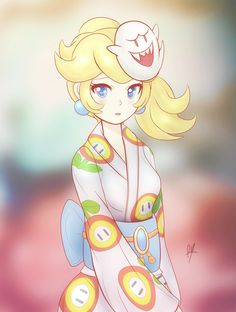 Peach wearing a Kimono with a Fire Flower pattern on it along with a Boo mask. Super Mario Nintendo, New Super Mario Bros, Super Mario Art, Super Smash Bros, Super Princess Peach, Super Mario Princess, Nintendo Princess, Lusamine Pokemon, Peach Mario