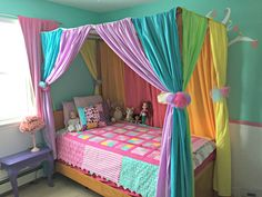 Kids room ideas DIY canopy bed with rainbow curtains - Heather's Handmade Life Your Guide to Bathroo Curtains Around Bed, Girl Curtains, Canopy Bed Curtains, Canopies, Little Girl Canopy Bed, Little Girl Beds, Bed With Canopy, 4 Poster Bed Canopy, Rainbow Curtains