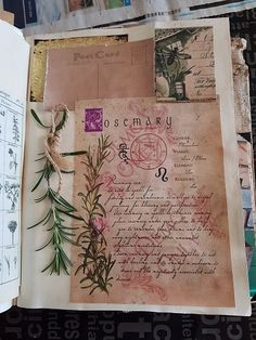 Made this junk book for a friend with a sprig of rosemary. The fragrance was lovely when opened.