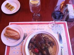 Beef Short Rib Pasta  braised in Cabernet with pearl onions and mushrooms at Epcot's Les Chefs de France