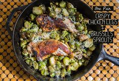 One-Pan Crispy Chicken Legs and Brussels Sprouts {#GlutenFree and #Paleo} #lowcarb shared via https://facebook.com/lowcarbzen