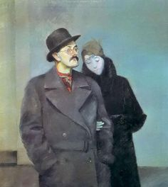 Self Portrait with Londa, 1933 by Conrad Felixmüller, (German 1897-1977)