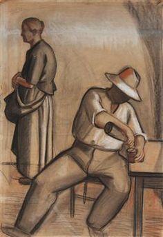 Mario Tozzi Contadini. Tecnica mista su carta incollata su cartone pressato Misure cm: 65 x 43  TOZZI MARIO (1895 - 1979) Contadini. 1927. T...