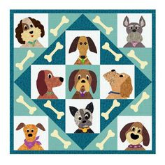 the Dog Pound Pals.  I finally got the last of the dogs drawn.  It will just be a Block Collection of the dog applique blocks (not the full quilt patterns shown below).  These dogs just make me smi...
