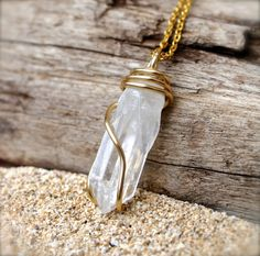 Natural Crystal Necklace Bohemian Jewelry by MermaidTearsDesigns, $26.00