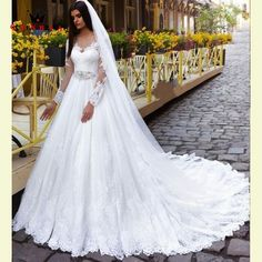 Custom Made A-line Long Sleeve Lace Beading Romantic Bridal Dress Muslim Wedding Dress