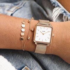 La Garçonne Rose Gold Mesh/White Modern Watches, Elegant Watches, Stylish Watches, Beautiful Watches, Gold Watches Women, Rose Gold Watches, Style Androgyne, Bracelet Cuir, Look Fashion