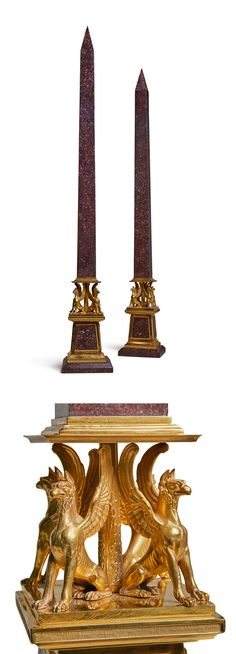 A pair of Italian Neoclassical gilt bronze and porphyry obelisks early 19th century - Dim: height 40 1/4 in. // 102.5 cm