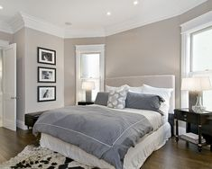 Color and bedding grey room - Benjamin Moore Hampshire Taupe #990