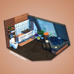 Sims 4 Gameplay, Sims 4 Houses, Attic Bathroom, The Sims, Dollhouses, Happy Friday, Interiors, Simple, Building