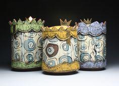 Royalty Jars. Jason Bige Burnett. Ceramic, slips, Glazes, iron Transfer Decals and luster