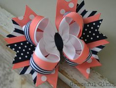 Items similar to Sweet Sailor Navy, Coral & White Stacked Bow on Etsy Navy and Coral Navy, Coral & White Stacked Hair Bow by GracefulGirls on Etsy Big Hair Bows, Ribbon Hair Bows, Making Hair Bows, Bow Hair Clips, Baby Girl Bows, Girls Bows, Hair Bow Tutorial, Flower Tutorial, Stacked Hair